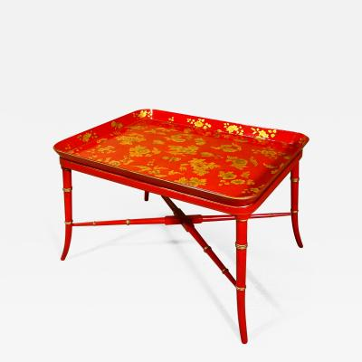 A Victorian Red and Gilt Papier Mache Tray
