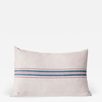 A Vintage Linen Striped Sack Covered Cushion with Blue and Red Stripe