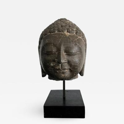 A Vintage Marble Buddha Head on Stand