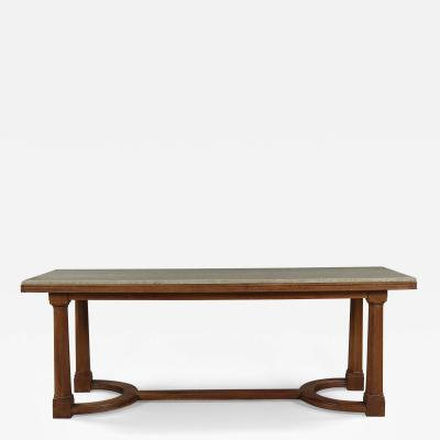 A Walnut Center Or Dining Table With Marble Top In The Manner Of Lutyens