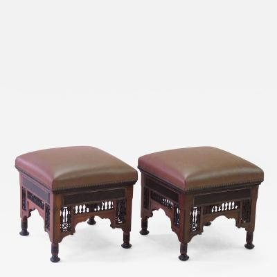 A Well Carved Pair of Moroccan Square Stools with Ebonized Highlights