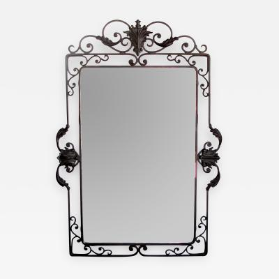 A Well Crafted French Art Deco Iron Mirror with Beveled Plate