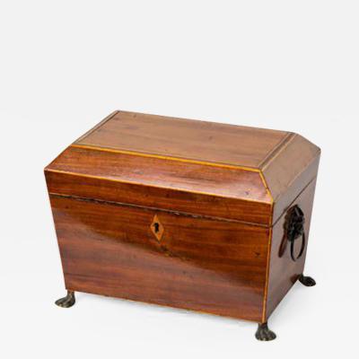 A Wood Inlay Box on Metal Feet