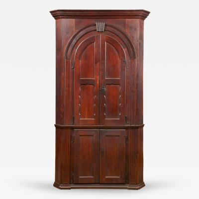 A York County Pennsylvania Walnut Blind Door Architectural Corner Cupboard