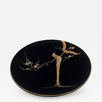 A beautiful Japanese Lacquered Plate with gold brush and mother of pearl inlay