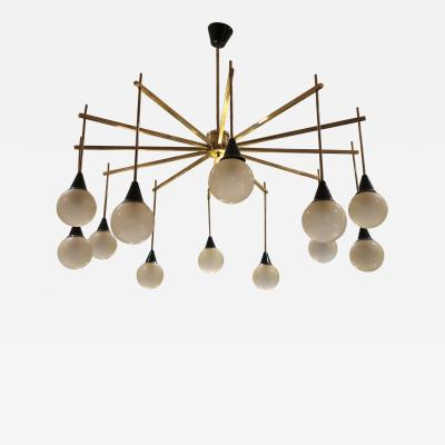 A brass and opaline ceiling lamp in the style of Stilnovo Italy 60