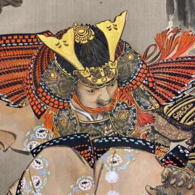 A dramatic and large pair of painted Japanese screens depicting Samurai