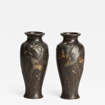 A fine pair of miniature bronze Antique Japanese vases