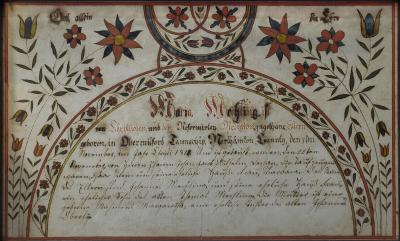 A fraktur birth and and baptismal certificate for Maria Mechling