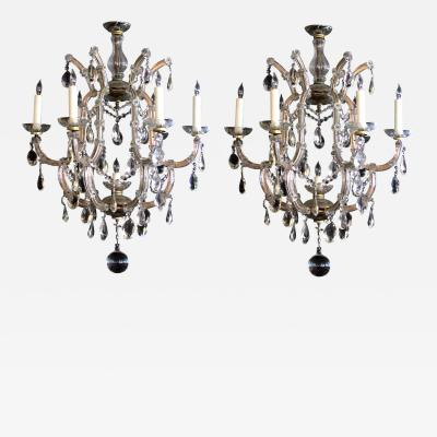 A good pair of Maria Theresa glass and crystal chandeliers