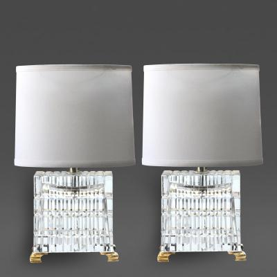 A good quality pair of French 1960s faceted crystal lamps