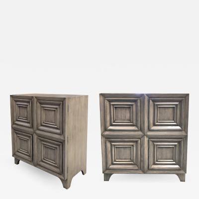 A handsome pair of American sold gray cerused oak dressing cabinets
