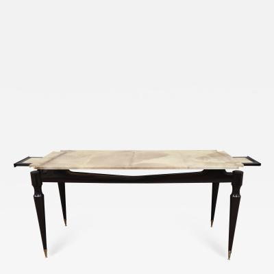 A lacquered wood and goat top console table Italy 70