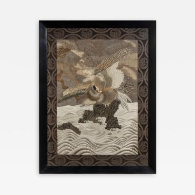 A large Meiji period silk embroidery of a sea eagle
