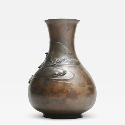 A large and wonderfully patinated Japanese Bronze vase