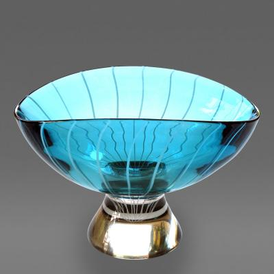 A large scaled Murano 1960s teal art glass bowl with swirl decoration