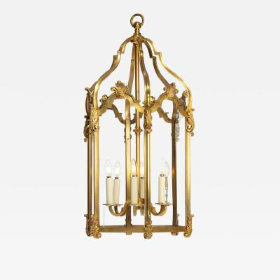 A late 19th century French hexagonal ormolu hanging lantern