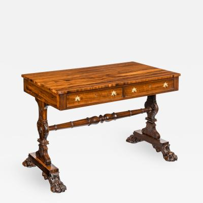 A late Regency free standing Gonzalo Alves writing table or library table