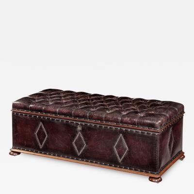 A mahogany box ottoman