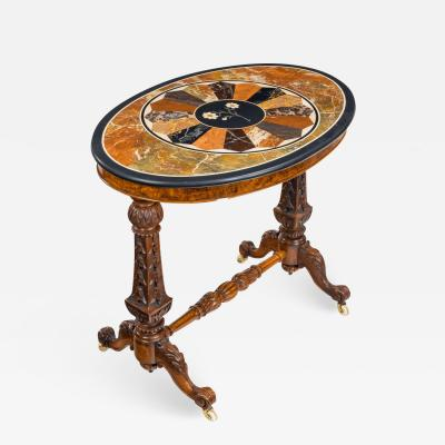 A mid Victorian walnut and pietra dura table