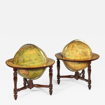 A pair of 12 inch table globes by J W Newton dated 1820