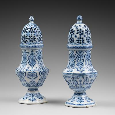 A pair of 18th Century French Faience Spice or Sugar Cannisters