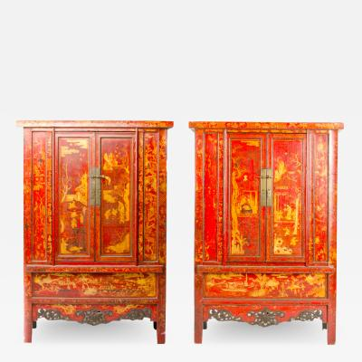 A pair of 19th century Chinese wardrobe chinoiserie lacquered red