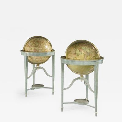 A pair of 21 contemporary library floor standing globes