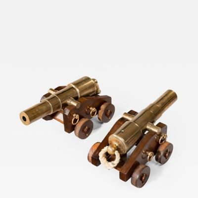 A pair of 4 stage bronze 18 signal cannon