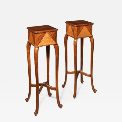 A pair of Anglo Indian teak stands
