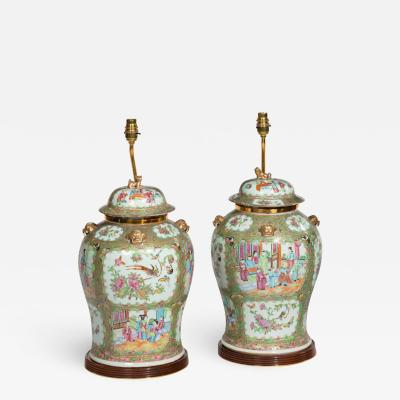 A pair of Chinese Canton Rose Medallion Vases and Covers