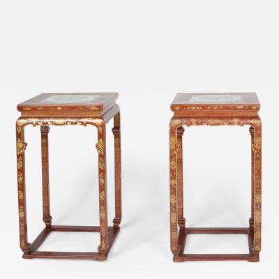 A pair of Chinese hardwood tall side tables circa 1900