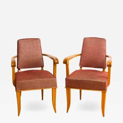 A pair of French sycamore armchairs circa 1940