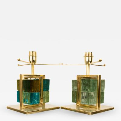 A pair of Italian brass cage Murano Glass cube lamps Contemporary