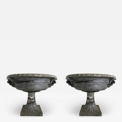 A pair of Monumental Italian Neoclassic Grand Tour Marmo Grigio Taza