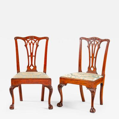 A pair of Philadelphia Chippendale side chairs with gothic splats