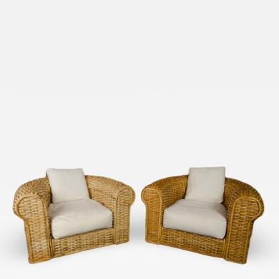 A pair of Ralph Lauren Home Polo Collection Woven Rattan armchairs late 20th C