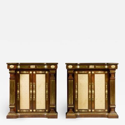 A pair of Regency brass inlaid rosewood side cabinets