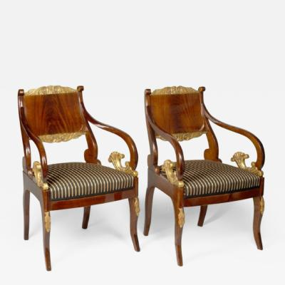 A pair of Russian Imperial armchairs