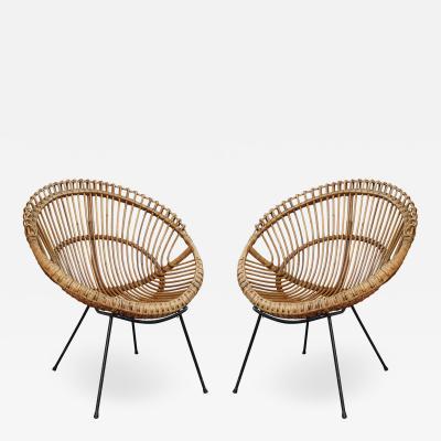 A pair of bamboo Italian armchairs Italy 60