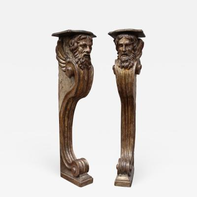 A pair of carved and gold wood columns Italy XVIIIth century