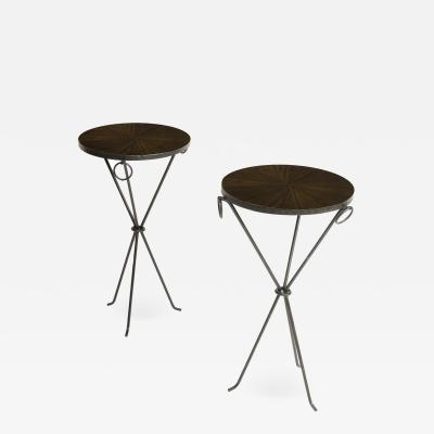 A pair of contemporary wrought iron drink tables