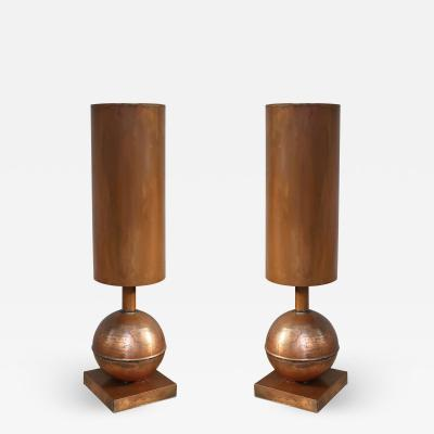 A pair of cooper table lamps Italy 90