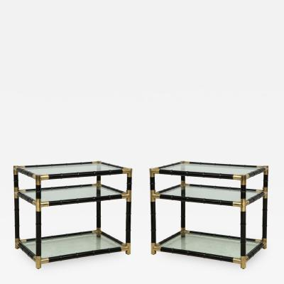 A pair of ebonized faux bamboo and brass tables in the manner of Billy Haines