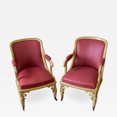 A pair of fine Victorian fauteuil armchairs from Mentmore Towers
