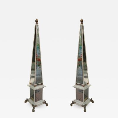A pair of mirror and wood obelisks France 40