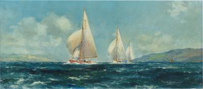 A pair of oil paintings of Clyde One Design yachts racing by Frank Henry Mason