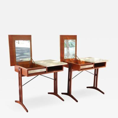 A pair of teak and lacquered parchment desks Italy 60