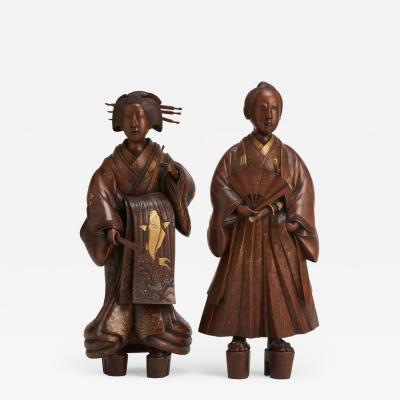 A pair of very finely carved Japanese wood figures 1868 1912