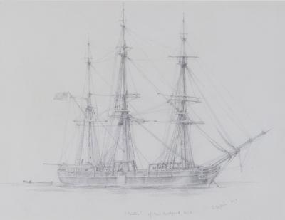 A pencil drawing of Canton a three masted whaling ship by Harold Wylie
